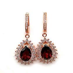 Сережки SONATA з медичного золота, темно-червоні фіаніти, позолота PO, 23398 (1)