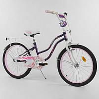 Детский двухколесный велосипед 20 дюймов на 6-9 летCORSO Т-09310 ФИОЛЕТОВЫЙ, ручной тормоз, звоночек