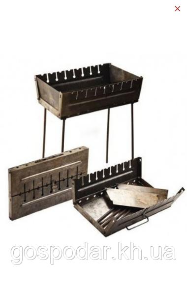 Мангал-чемодан на 10 шампуров, 3 мм. разборной, складной, переносной,компактный для шашлыка и гриля