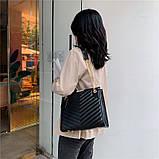 Женская большая классическая сумка на цепочке черная, фото 3