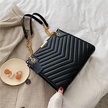 Женская большая классическая сумка на цепочке черная