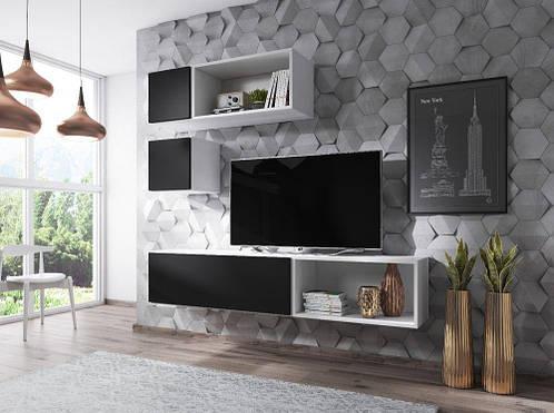 Гостиная стенка ROCO 5 CAMA белый/черный/белый