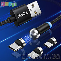 Магнитный кабель 360 для зарядки телефона TOPK. Комплект - 1 кабель и 1 коннектор. 1 метр