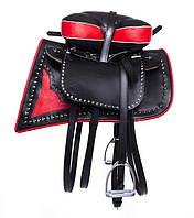 Седло для лошади Джигитовочное (комплект),(чёрно/красный), (чёрно/белый)., фото 1
