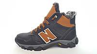 Подростковые кожаные зимние ботинки NB cruz black, фото 1