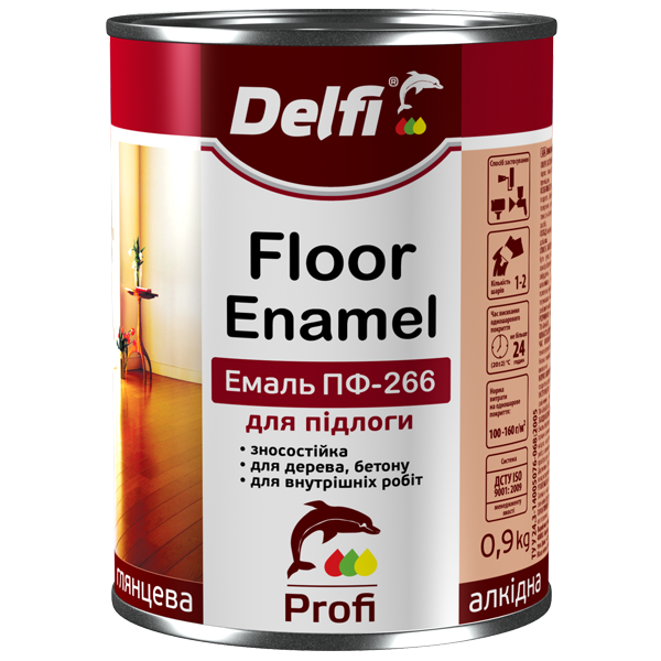 Эмаль алкидная ПФ-266 для пола Delfi красно-коричневая 0,9кг
