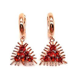 Сережки SONATA з медичного золота, темно-червоні фіаніти, позолота PO, 23742 (1)