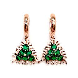 Сережки SONATA з медичного золота, зелені фіаніти, позолота PO, 23743 (1)