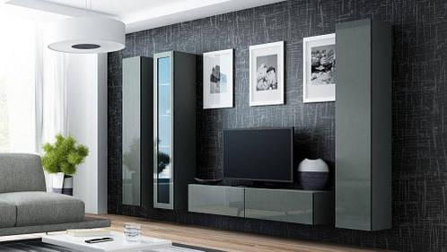 Гостиная стенка VIGO 15 CAMA серый матовый/серый глянец