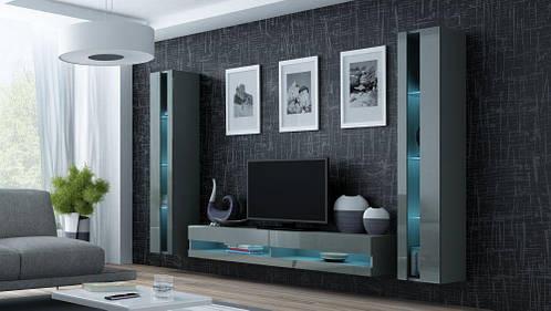 Гостиная стенка Vigo NEW 3 CAMA серый матовый/серый глянец