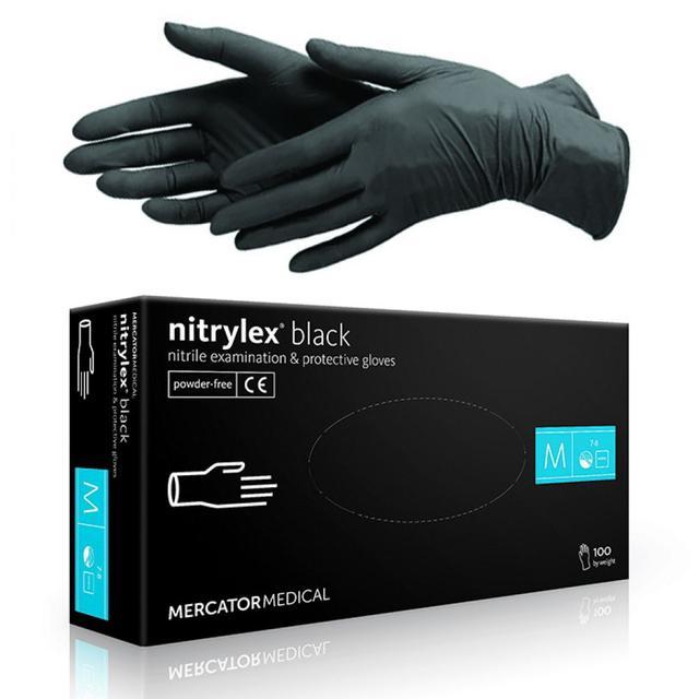 Перчатки нитриловые Nitrylex black, размер М (7-8)