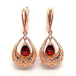 Серьги SONATA из медицинского золота, темно-красные фианиты, позолота PO, 23982             (1)