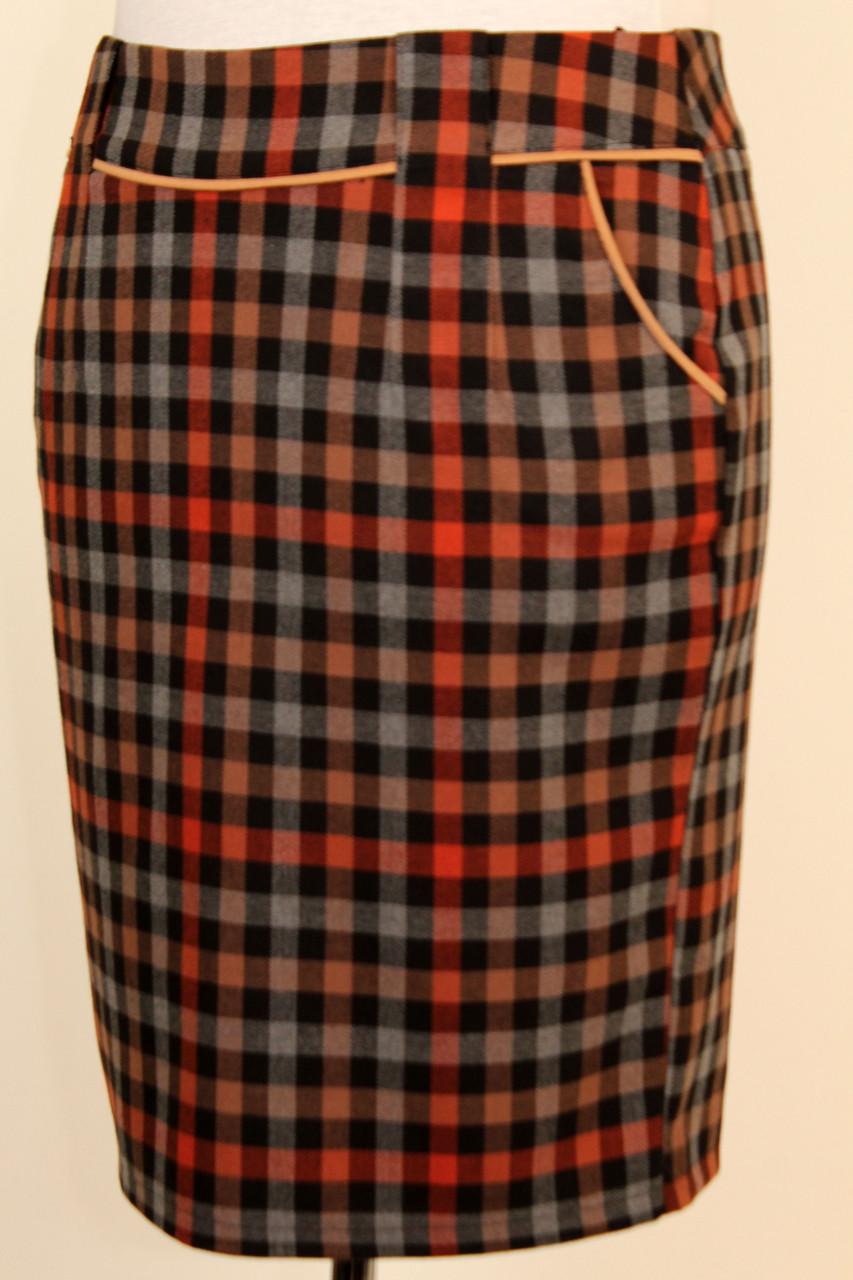 Теплая юбка карандаш в клетку с кантиком 48-54 р