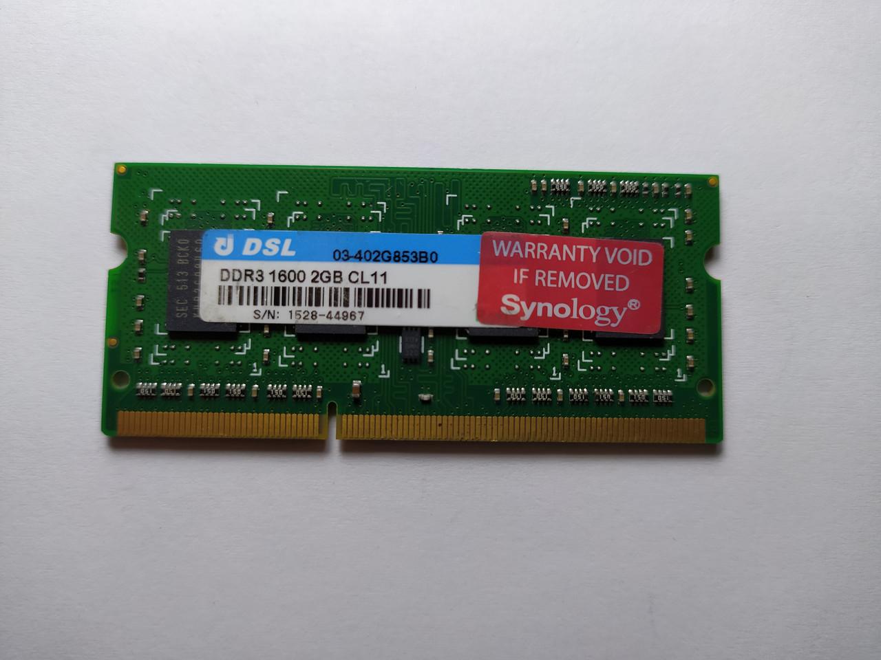 Оперативная память для ноутбука SODIMM Synology DDR3 2Gb 1600MHz PC3-12800S (03-402G853B0) Б/У
