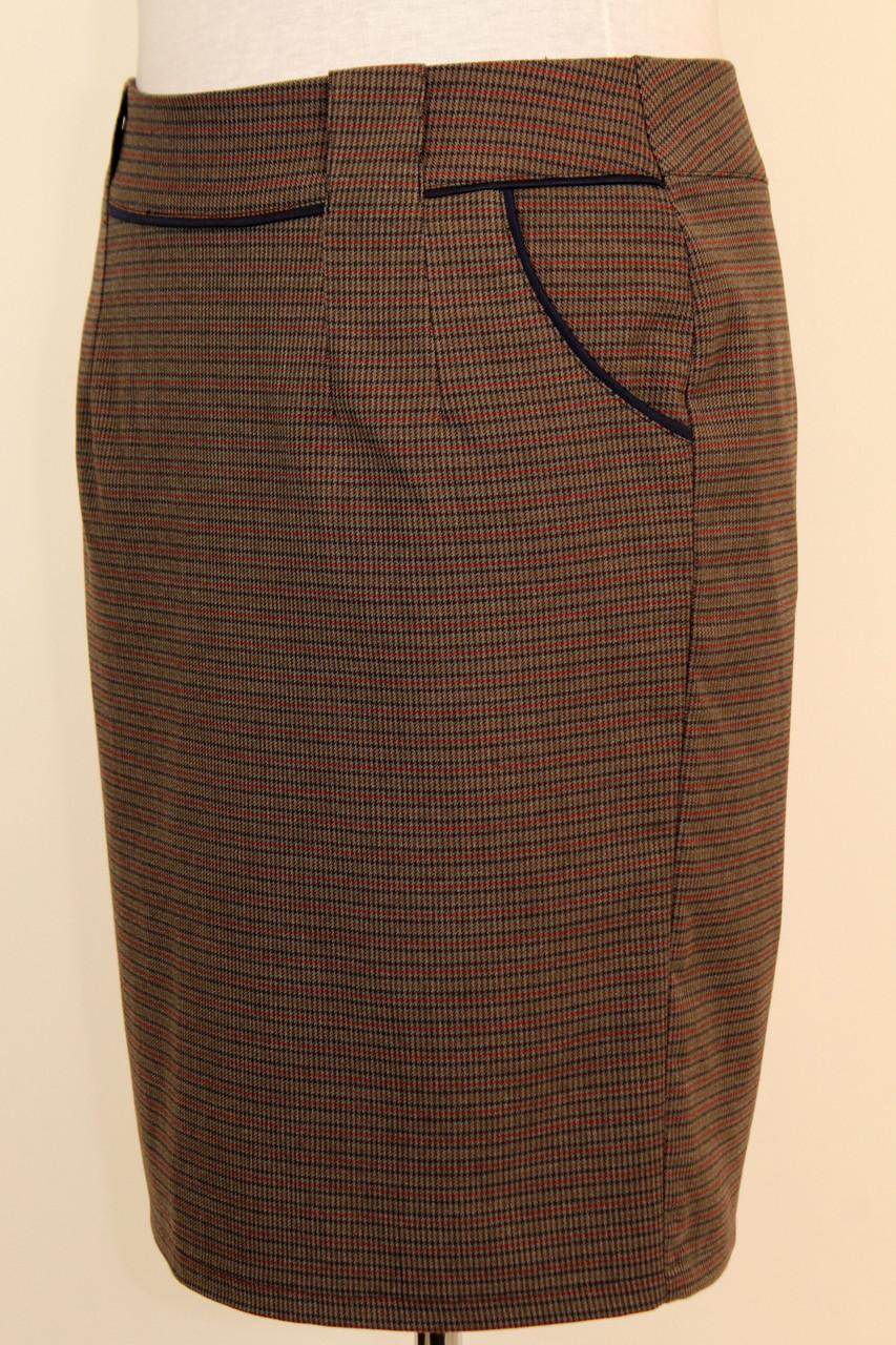 Деловая юбка карандаш в клетку с карманами 48-54 р