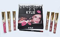 Набор жидких матовых помад Kylie от Кайли Дженнер 6 штук карандаш для губ Black