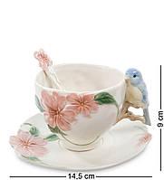 """CMS-54/ 1 Чайная пара """"Голубая птица Счастья"""" 11см (Pavone), фото 1"""
