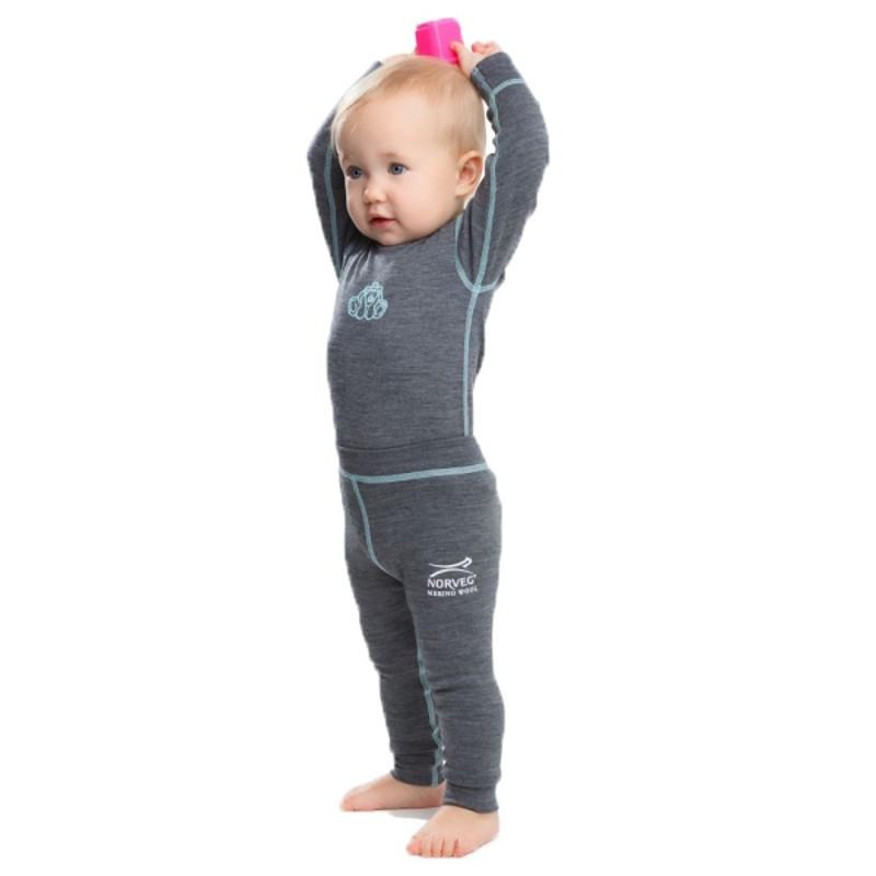 Термолеггинсы детские NORVEG Soft Merino Wool (размер 56-62, серый меланж)
