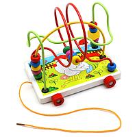Деревянная игрушка Каталка MD 0320 (Курочка)