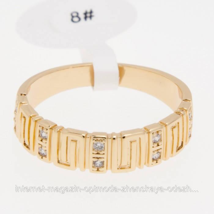 Красивое женское кольцо с орнаментом и белыми камушками, размер - 16,17,18,19,20, цвет - золото