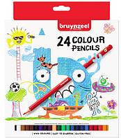 Набор детских цветных карандашей, 24цв., карт. коробка, Bruynzeel