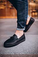 Лоферы мужские кожаные Boss xx black ЛЮКС качество, фото 1