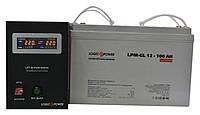 Комплект резервного питания ИБП Logicpower LPY-B-PSW-500 + АКБ LP-GL100 для 7-12ч работы газового котла, фото 1