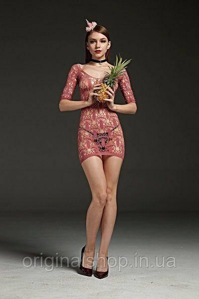Платье ажурное розовое