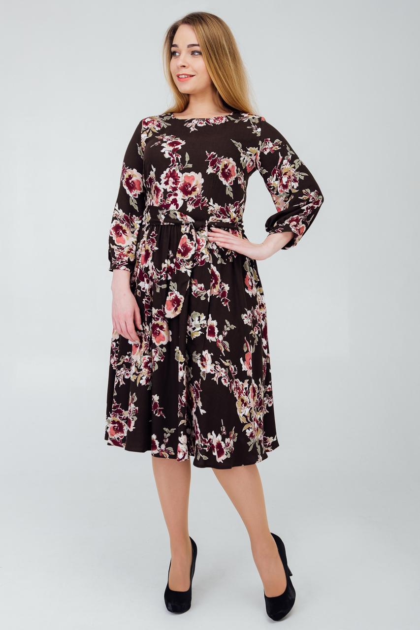 Повседневное платье с цветочным принтом коричневое