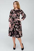 Повседневное платье с цветочным принтом коричневое, фото 1