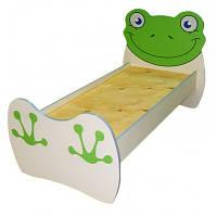 """Кровать детская одноместная """"Лягушонок"""" с съемными перилами, 1436х770х820 мм."""