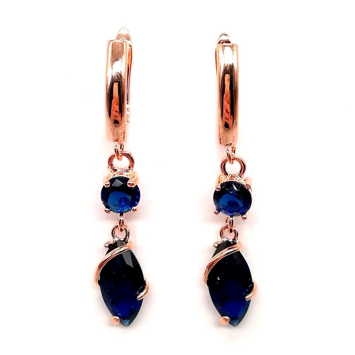 Серьги SONATA из медицинского золота, синие фианиты, позолота PO, 23404             (1)