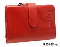 Компактный женский красный кожаный кошелек, фото 1