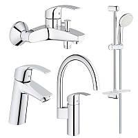 Набір змішувачів для кухні, умивальника, ванни та душова стійка M-Size Grohe Eurosmart 123248MK
