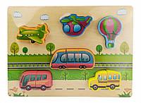 Деревянная игрушка Рамка-вкладыш MD 1186 (Транспорт)