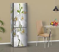 Магнитная наклейка на холодильник Орхидея Белая с бутонами, виниловый магнит, 600*1800 мм, Лицевая