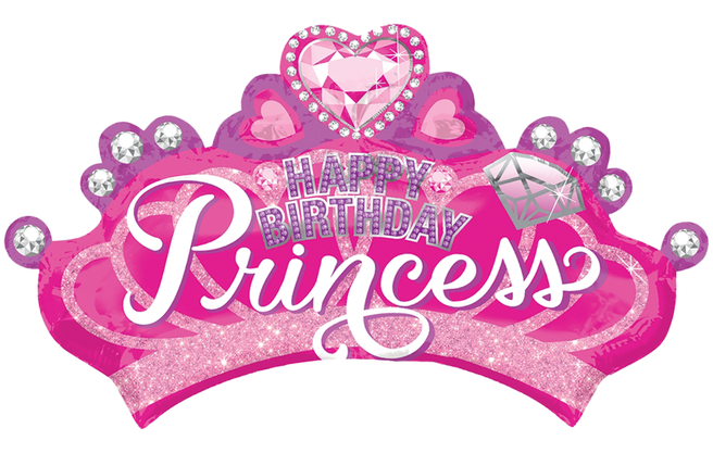 Фол шар фигура ХБ Корона розовая Happy Birthday Princess (Анаграм), фото 2