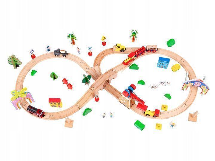 Дитяча дерев'яна залізниця EcoToys HM008999 78 елементів для дітей