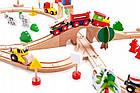 Дитяча дерев'яна залізниця EcoToys HM008999 78 елементів для дітей, фото 4