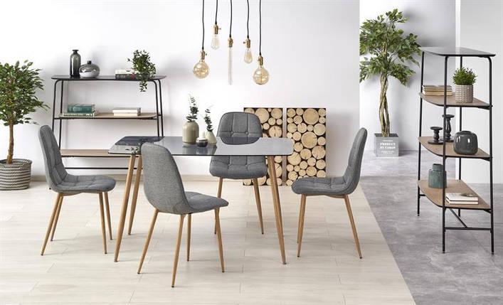 Скляний обідній стіл Next 130*80(2 кольори: чорний, золотий дуб) (Halmar), фото 2