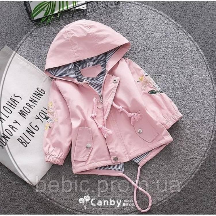 Парка для девочек с цветочками розовая Рост:80-110 см