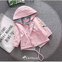 Парка для девочек с цветочками розовая Рост:80-110 см, фото 1