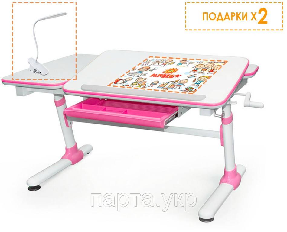 Регулируемый Письменный стол Evo Darwin 120см, (голубой, розовый, серый) + лампа