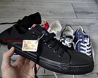 Женские/мужские кеды Converse All Star черные монохром низкие Black Monochrome Low, фото 1