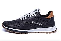 Мужские кожаные летние кроссовки, перфорация Reebok Classic black черные, фото 1
