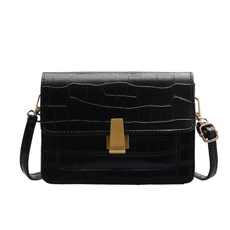 """Женская классическая сумка на ремешке """"Крокодил"""" через плечо 005 7445 черная"""