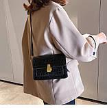 """Женская классическая сумка на ремешке """"Крокодил"""" через плечо 005 7445 черная, фото 2"""