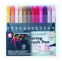 Набор маркеров Koi Coloring Brush Pen, 24цв., Sakura