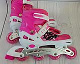 Ролики детские раздвижные размер L (39-42) PVC Свет переднего колеса, розовые, фото 2