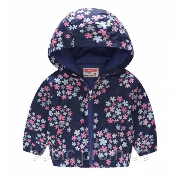 Ветровка для девочек темно-синяя с цветочками Рост:120 см